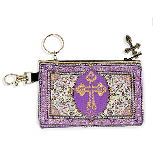 (Purple with Gold - Byzantine Cross - Reversible - Tapestry Cloth Key Chain Coin Rosary Holder Case Pouch 4-3/4 x 2-3/4 Inches by World Gifts)