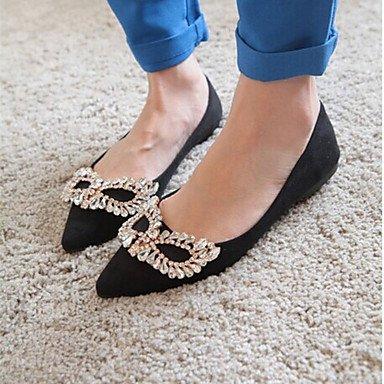 Cómodo y elegante soporte de zapatos de las mujeres pisos comodidad de primavera/verano/otoño/punta Toe/cerrado en los dedos Casual talón plano/de purpurina brillante negro