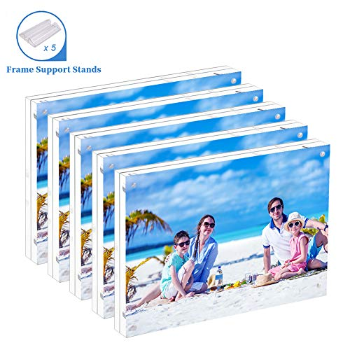 (5 Pack Acrylic Picture Frame 5x7 Clear Double Sided Magnetic Picture Frameless Desktop Display with Photo Frame Support Stand Best Gift for Family, Baby, Document Photo Frames- Free Soft)