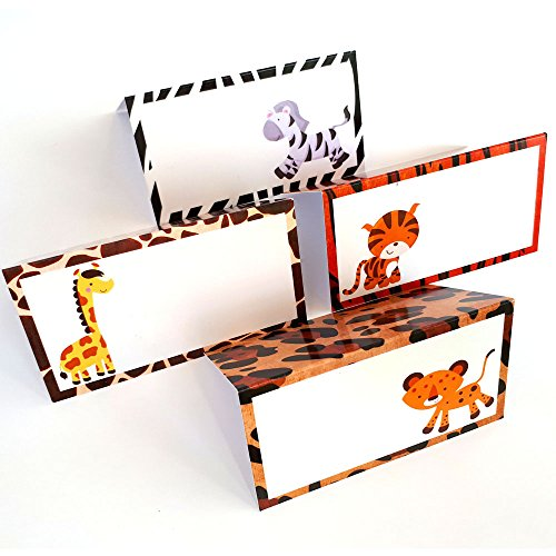 Jungle Safari Animals Place Tent Cards - Boy Girl Party Birthday Baby Shower Party - Set of 12