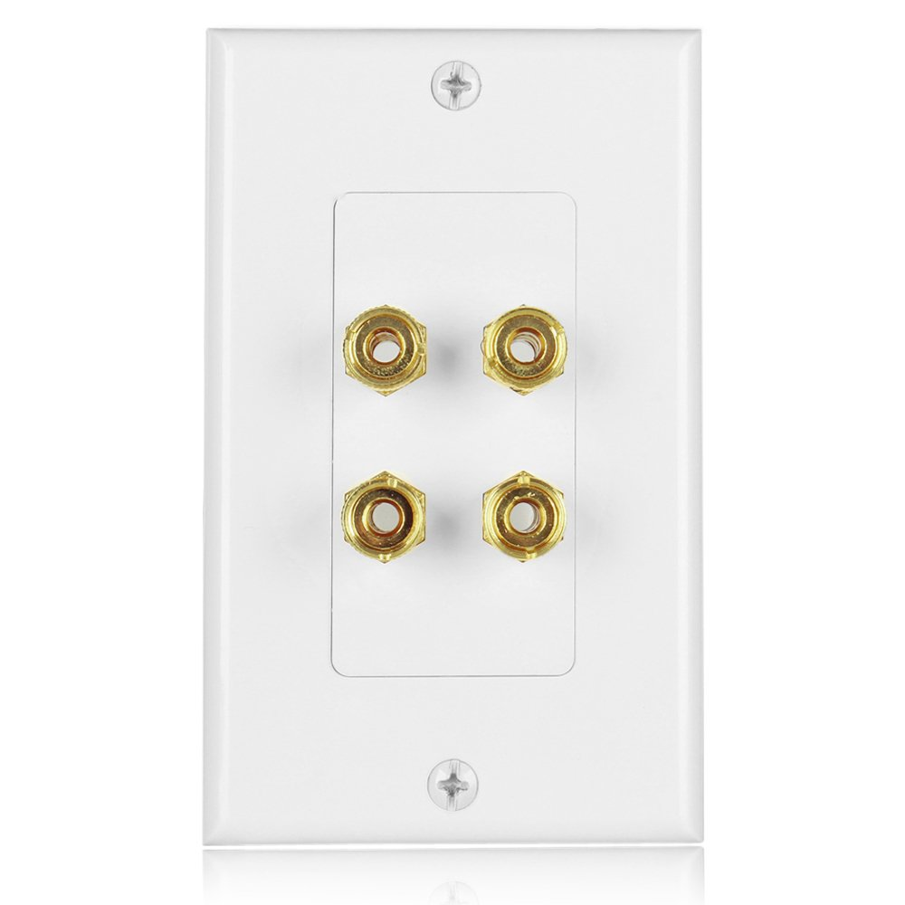 TNP Home Theater Speaker Wall Plate Outlet - 7.2 7.1 Surround Sound Audio Distribution Panel, Gold Plated Copper Banana Plug Binding Post Coupler, 2 RCA LFE Input Jack for Subwoofer (2-Gang) TNP Products WP_71SPK_2G