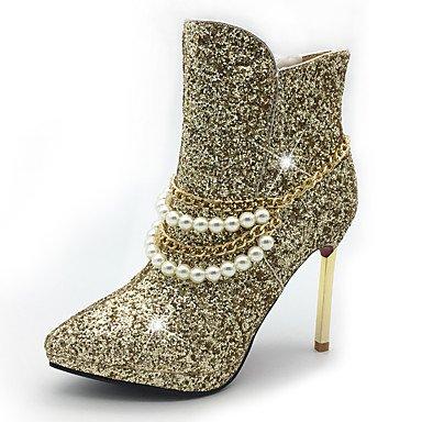Damen Schuhe Paillette Kunststoff Glanz Herbst Winter Modische Stiefel Stiefeletten Stiefel Stöckelabsatz Plateau Spitze Zehe Booties / white