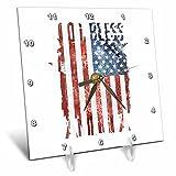3dRose Andrea Haase Patriotic Art - God Bless America Patriotic 4th July Distressed Flag - 6x6 Desk Clock (dc_282615_1)