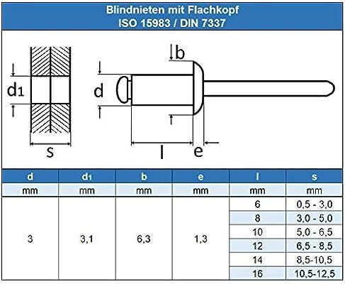 Eisenwaren2000 rostfrei 30 St/ück ISO 15983 - mit Flachkopf Popnieten DIN 7337 Niet 6 x 20 mm Blindniet Edelstahl A2 V2A