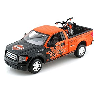 2010 Ford F-150 STX Pickup & 2007 XL 1200N Nightster 1/24 Orange w/ Black Flames: Toys & Games