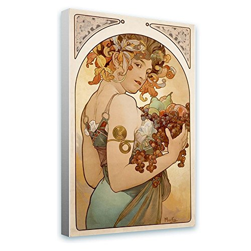 - Alonline Art - Fruit by Alphonse Mucha | framed stretched canvas on a ready to hang frame - 100% cotton - gallery wrapped | 28