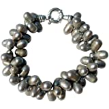 Cultured Freshwater Silver Grey 8-10mm Pearl two strand chunky bracelet with a silver clasp, presented in an attractive satin silk pouch with a gift card