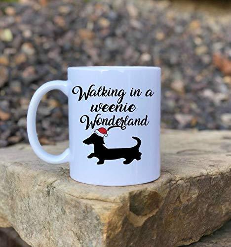 Walking in a weenie wonderland, Funny coffee mug, Wiener dog gift, Mug for her, Mug for him, Christmas mug, Dog lover, Dog mom, Coffee Mug Gift, 11oz, 15oz, gift, present