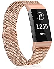 AK Compatible with Fitbit Charge 3/Charge 3 SE Strap, Metal Loop Stainless Steel Adjustable Replacement Bands with Magnetic Closure for Fitbit Charge 3 Small Large Women Men (02 Rosepink, L)