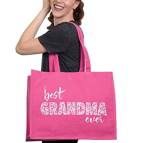 Best Grandma Ever Tote Bag - Mothers Day, Birthday or Holiday Gift - Hot Pink