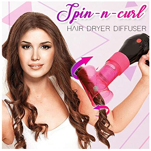 Azcczzii Spin-n-curl Hair Dryer Diffuser, Tornado Hair Curler, 360°Roatable Professional Hair Curler for Different Curl Style (Pink)