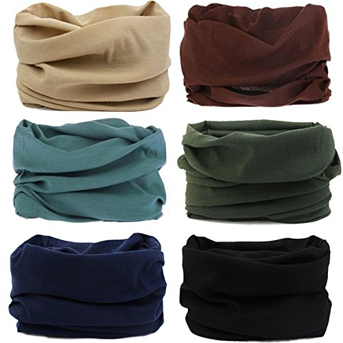 MAKLULU 6pc Seamless Bandanna Tube Headwear Scarf Wrap,12-in-1 Outdoor Sport Headband with UV Resistance - Sunglasses Ae