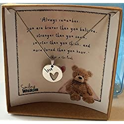 Smiling Wisdom - Winnie the Pooh Bear Quote - Encouraging Valentines Gift Set - 2017 Greeting Card and Double Sided Love Heart Pendant Necklace for Girls, Tween, Teens and Women - Plus Free Gift