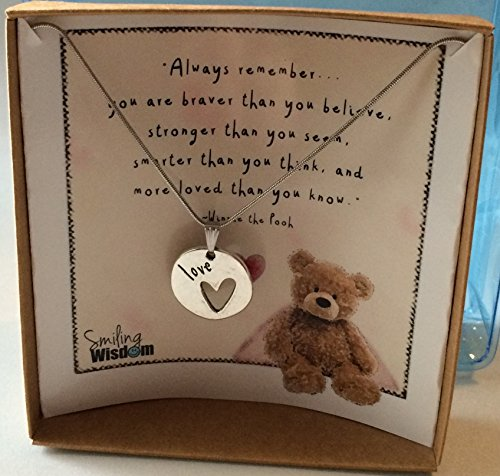 Nestled Hearts (Smiling Wisdom - Winnie the Pooh Bear Heart Encouraging Quote Valentine Gift Set - Double-Sided Love Heart Pendant Necklace for Grad, Daughter, Girls, Tween, Teens & Women - Anytime Jewelry)
