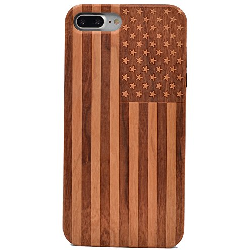iPhone 7 Plus Wood Case American Flag US Handmade Carving Real Wood Case Wooden Case Cover with Soft TPU Back for Apple iPhone 7 Plus