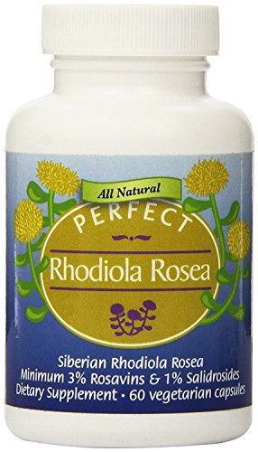 3-Pack Perfect Rhodiola Rosea - Freeze Dried 100% Wild-crafted Siberian Rhodiola Rosea Root, 60 Vegetable Capsules