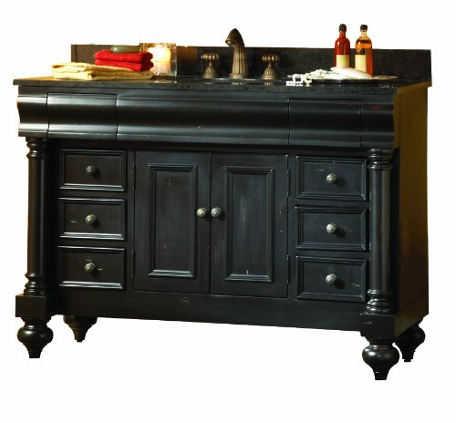 - Kaco international 725-4800-P-TB Guild Hall 48-Inch Vanity in Distressed Pecan Sherwin Williams Finish and Tan Brown Granite Top