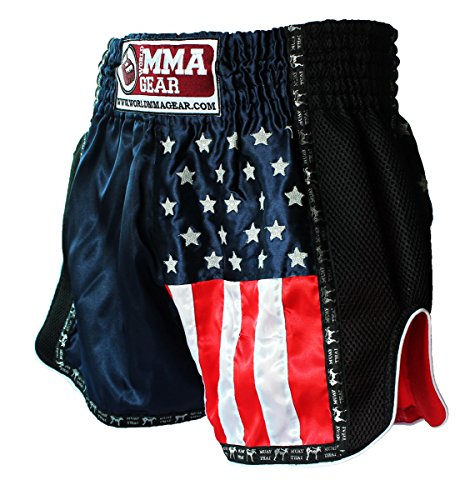 NEW! World MMA Gear Muay Thai Shorts, Thai boxing, MMA - with American flag (Navy Blue, Large)