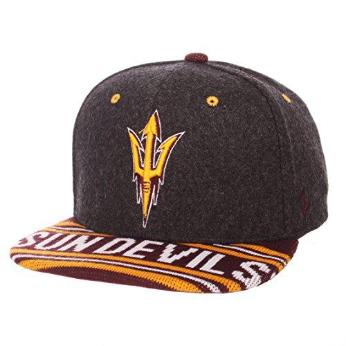 Zephyr Adult Men End Zone Snap NCAA Snapback Hat, Grey/Team Color, Adjustable