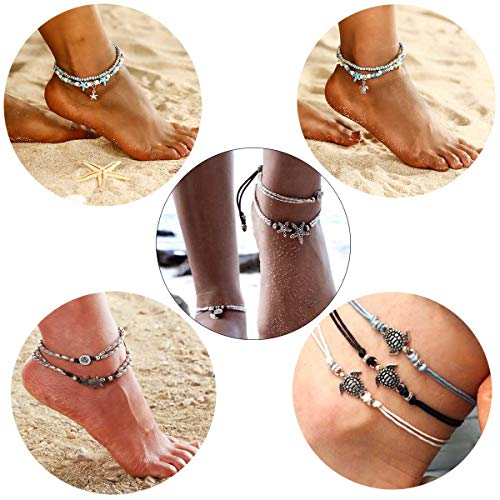 - Qimoshi 7Pcs Blue Starfish Turtle Anklet Multilayer Charm Beads Sea Handmade Rope Wave Boho Anklet Foot Jewelry for Women Girl