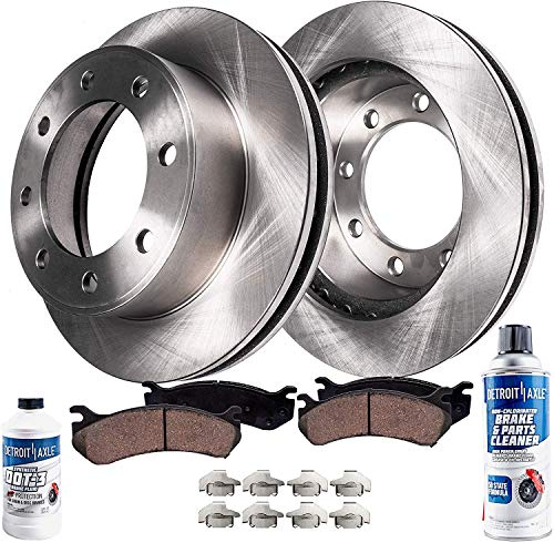 Chevrolet K2500 Disc Brake - Detroit Axle - Front Disc Replacement Brake Kit Rotors Ceramic Pads for - 1989-2000 Chevrolet K2500 - [1988-2000 K3500] - 1992-1999 K2500 Suburban - 8 Lugs; Single Rear Wheels