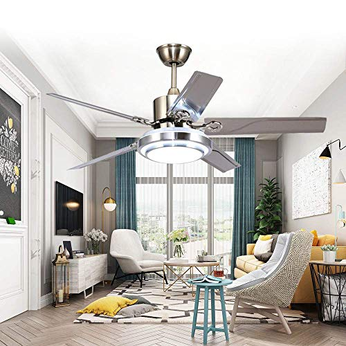 WesternLighting 52 Inch LED Indoor Stainless Steel Ceiling Fan with Light and Remote Control 3 Speed Reversible Motor Mute Energy Saving Fan Home Decoration
