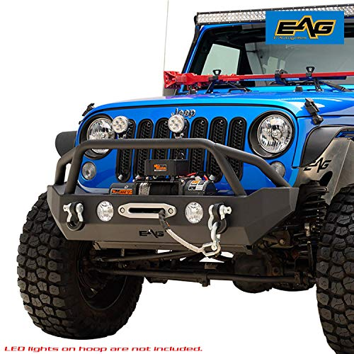 EAG Rock Crawler Front Bumper Black Textured with D-Ring Fit for 07-18 Jeep Wrangler JK