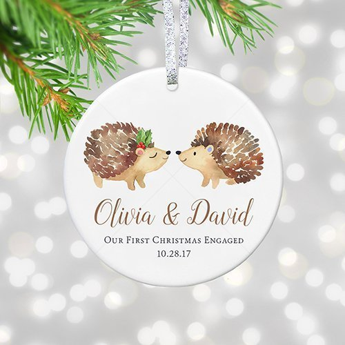 Name Ornament Personalized (Our 1st Christmas Engagement Ornament 2018, Personalized Names Date, First Xmas Engaged Gift for Fiancee - 3