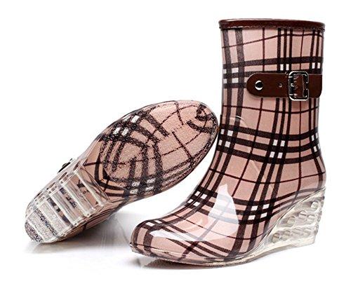 de Cremallera Botas Hebilla Mujer Amarillo Zapatos Lateral Botas con Wealsex de Impermeable Cu Estaciones Cuatro Antideslizantes Transparente as Moda Lluvia Agua PaWO1Rq