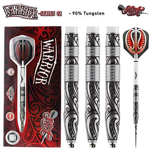 Shot! Darts Warrior-Steel Tip Dart Set-Centre Weighted-90% Tungsten Barrels -