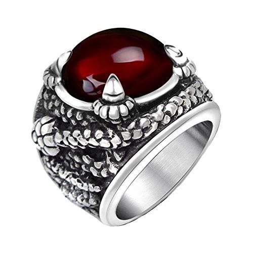 LILILEO Jewelry Titanium Steel Serpentine Red Zircon Ring For Men's - Gold Serpentine Bracelets Red