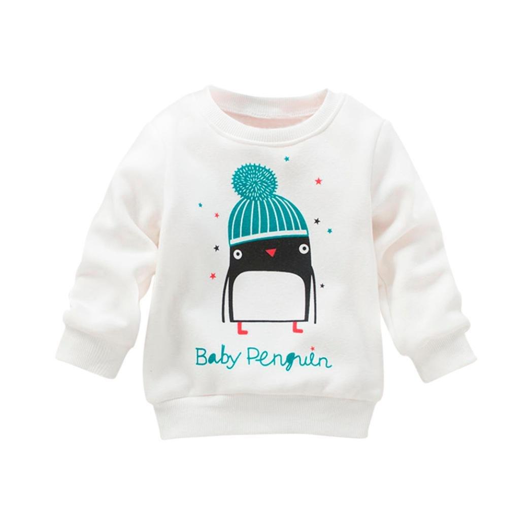 d4bb0efe6cfd Amazon.com   Elogoog Baby Girl Long Sleeve Sweatshirt Penguin Print ...