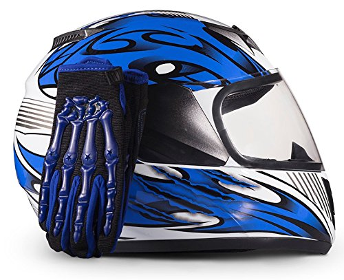 Youth Kids Full Face with Shield Helmet & Gloves Combo Motorcycle Street Dirtbike MX - Blue (Medium)