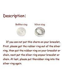 .Se vende plata de ley 925, 2 cuentas espaciadoras de goma, para pulseras de abalorios.