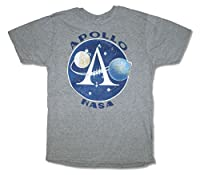 NASA Apollo Mens Heather Grey T Shirt New Official Adult