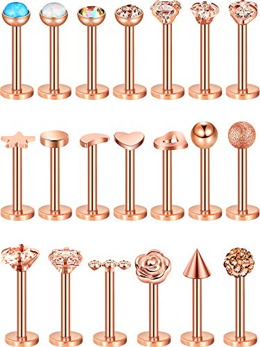 (Blulu 20 Pieces 16G Stainless Steel Nose Studs Nose Lips Tragus Labret Cartilage Piercing Jewelry for Women Girls, 20 Styles (Rose Gold 1))