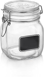 Bormiolio Rocco Clear Jar with Chalkboard, 25.3 Oz
