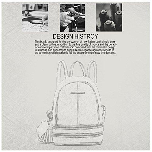 Miss Lulu Women Fashion Backpack Casual Small Saffiano PU Leather Waterproof Rucksack Mini Shoulder Bags (Grey)