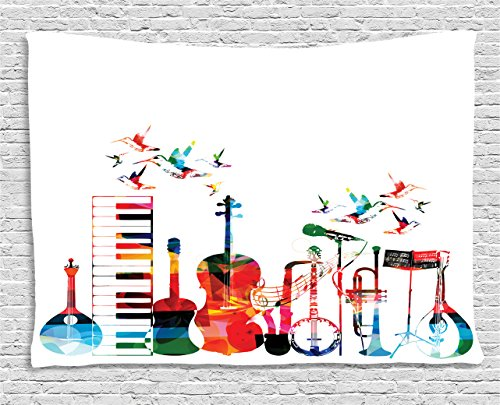 (Ambesonne Music Tapestry, Colorful Musical Instruments Keyboard Guitar Banjo Trumpet Cello and Flying Birds, Wall Hanging for Bedroom Living Room Dorm, 60 W X 40 L Inches, Multicolor)