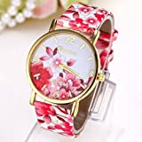 Doyime Fashion Women Dress Watch Silicone Printed Flower Wristwatches