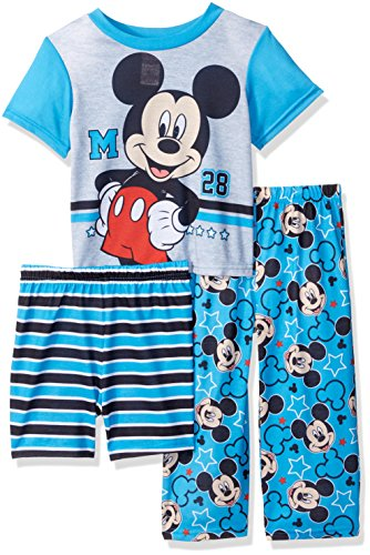 Disney Toddler Boys' Mickey Mouse 3-Piece Pajama Set, Blue, 4T