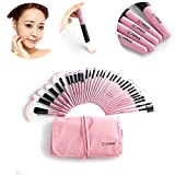 32pcs Vander Professional Premium Synthetic Kabuki Makeup Brush Set Cosmetics Foundation Eyebrow Shadow Blush Eyeliner Face Powder Brush Makeup Brushes Kit + Pouch Bag(Pink))