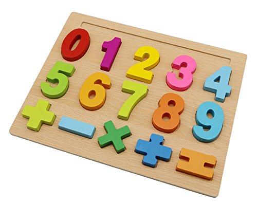 Motrent Preschool Educational Wooden 10 Numbers Puzzle Board