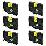 SuperInk 6PK Compatible for Brother HSe-611 HSe611 HS-611 HS611 Black on Yellow Heat Shrink Tube Label Tape use in Brother PT-E300 PT-E500 PT-E550W PT-P750WVP Printer (0.23''x 4.92ft, 5.8mm x 1.5m)