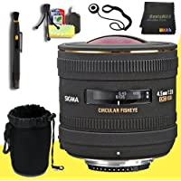 Sigma 4.5mm f/2.8 EX DC HSM Lens for Nikon Digital SLR Digital Cameras + Lens Cap Keeper + Deluxe Lens Pouch + Lens Pen Cleaner + DavisMAX MicroFiber Cloth + Deluxe Starter Kit DavisMAX Bundle