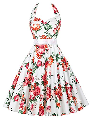 para hálter Cuello KARIN Floral GRACE Sin Mangas Redondo Vestido 13 13 cl6075 Cuello Mujer Floral xHFx4zwq