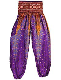 Thai Style Pants Purple Summer Beach Bohemian High Waist Harem Loose Women Trousers