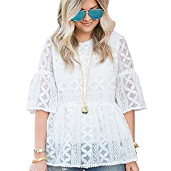 Chicwish Women S White Lace Organza Dolly Shirt Blouse Top With Bell Sleeves Small Medium