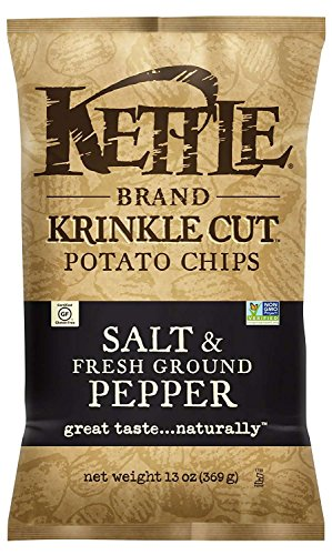 Kettle Brand Potato Chips, Krinkle Cut Salt and Fresh Ground Pepper, 13 Ounce Bags (Pack of (Krinkle Cut Potato Chips)