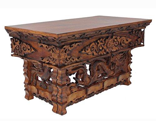 Wood Hand Carved Tibetan Buddhist Prayer Shrine Altar Meditation Table (Medium, Dark) (Carved Altar Table)